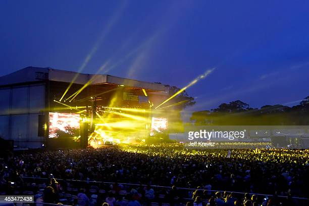 The Killers perform at the Lands End Stage during day 3 of the 2014 Outside Lands Music and Arts Festival at Golden Gate Park on August 10 2014 in...