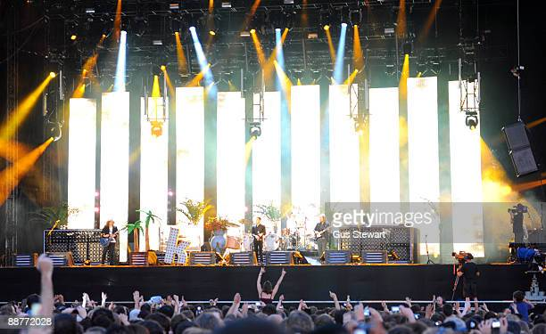 The Killers perform on stage on day 1 of Hard Rock Calling at Hyde Park on June 26 2009 in London England