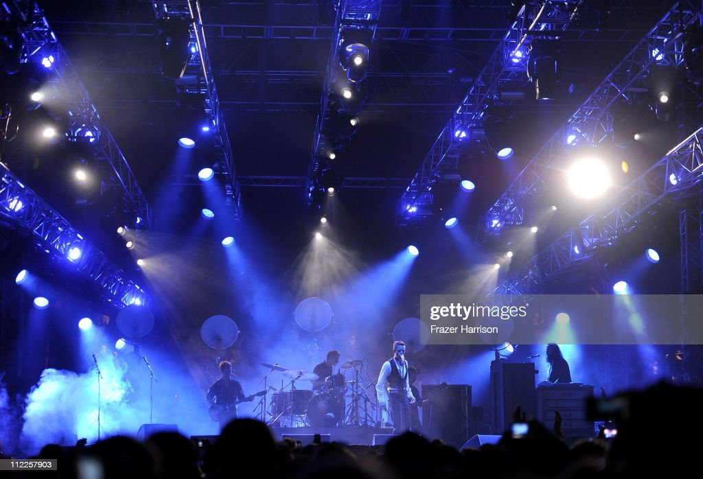 The Killers perform with musician Brandon Flowers during Day 1 of the Coachella Valley Music & Arts Festival 2011 held at the Empire Polo Club on April 15, 2011 in Indio, California.