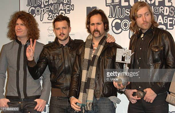 The Killers winner of Best Rock Act during 2006 MTV European Music Awards Copenhagen Press Room at Bella Centre in Copenhagen Denmark