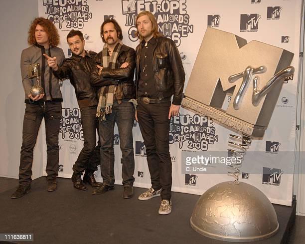 The Killers winners of Best Rock Act during 2006 MTV European Music Awards Copenhagen Press Room at Bella Centre in Copenhagen Denmark