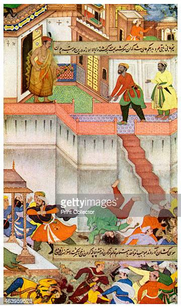 The killing of Adham Khan by Akbar c1600 Scene from the Akbarnama The Mughal Emperor Akbar killing Adham Khan one of his generals by throwing him...