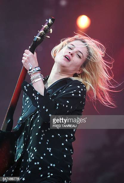 The Kills band's singer Alison Mosshart performs on stage on July 14 2016 in CarhaixPlouguer western of France during the first day of the 25th...