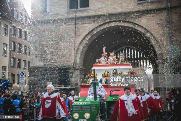 The Kinderdreigestirn during the annual Rose Monday Carnival parade on March 4 2019 in Cologne Germany Cities throughout the Rhineland region are...