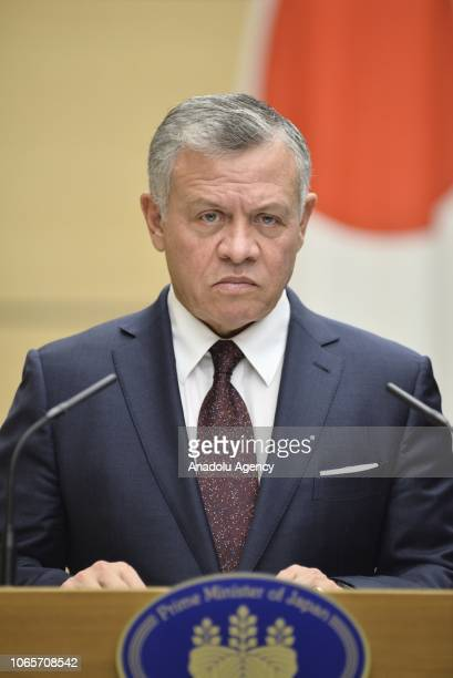 The King Abdullah II of Jordan speaks during a joint press conference held after the JapanJordan Summit Meeting at the prime minister office in Tokyo...