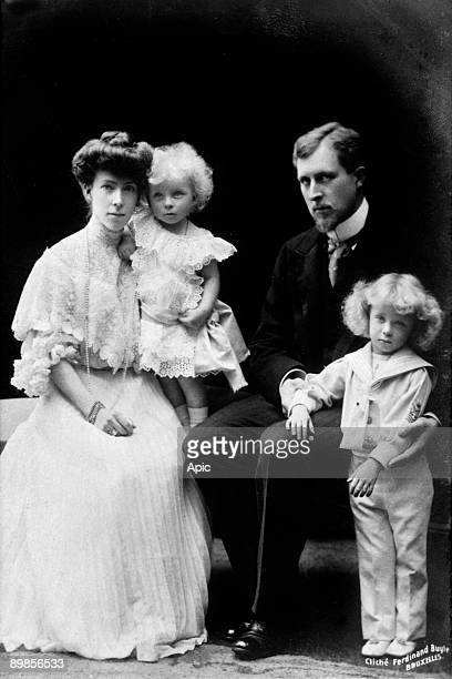 The king Albert 1st with the queen Elisabeth of Belgium born duchess of Bavaria and their children Princes Leopold and Charles 1905