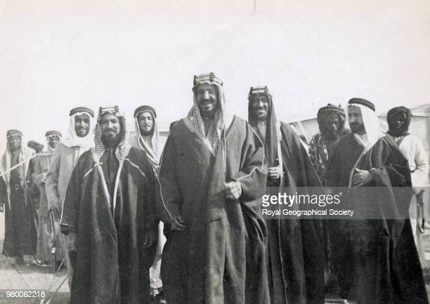 The King and his guests Shaikh Ahmad al Sabah Ruler of Kuwait on his right and Saud behind him on left This image shows the King and his guests...