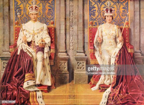 The King and Queen Enthroned and Crowned May 12 1937 George VI Albert Frederick Arthur George 1895 to 1952 King of the United Kingdom Elizabeth...