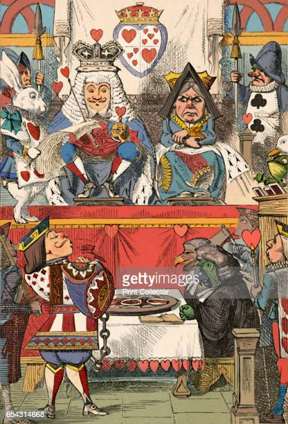 The King and Queen of Hearts in Court, 1889. Lewis Carrolls Alice in Wonderland as illustrated by John Tenniel . From Alices Adventures in Wonderland...