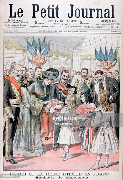 The King and Queen of Italy in France 1903 King Victor Emmanuel III and Queen Elena of Italy receiving a welcoming gift of flowers An illustration...