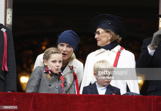 The King And Queen Of Norway Crown Prince Haakon And Crown Princess MetteMarit Of Norway With Their Children Princess Ingrid Alexandra And Prince...