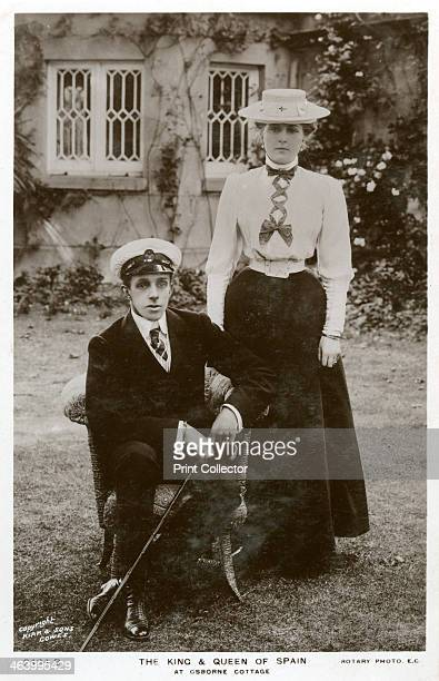 The King and Queen of Spain at Osborne Cottage Isle of Wight c1906c1919 King Alfonso XIII and his Queen Consort Victoria Eugenie of Battenberg a...