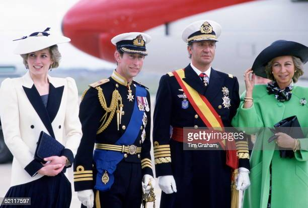 The King And Queen Of Spain Greeted By The Prince And Princess Of Wales As They Arrive At Heathrow Airport For A State Visit
