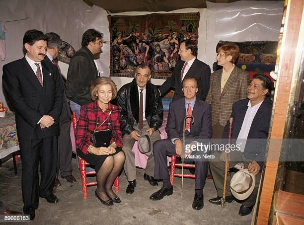 The King and Queen of Spain visits the south area of Madrid The King and Queen Juan Carlos I and Dona Sofia visit a gipsy shack