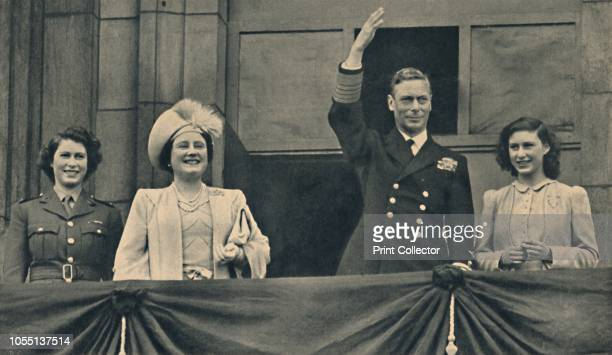 The King and Queen with Princess Elizabeth and Princess Margaret on the Balcony of Buckingham Palace on VEDay' 8 May 1945 King George VI and Queen...