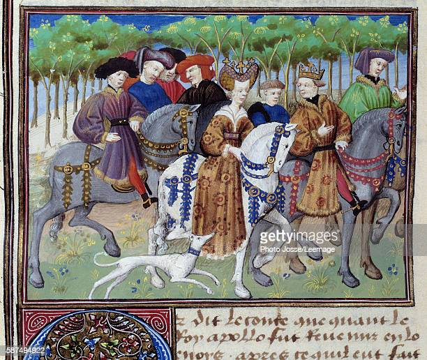 The king and the queen going hunting Philip VI of Valois and Blanche of Navarre Miniature from 'The Book of the Hunt' by Gaston III Phoebus Count of...