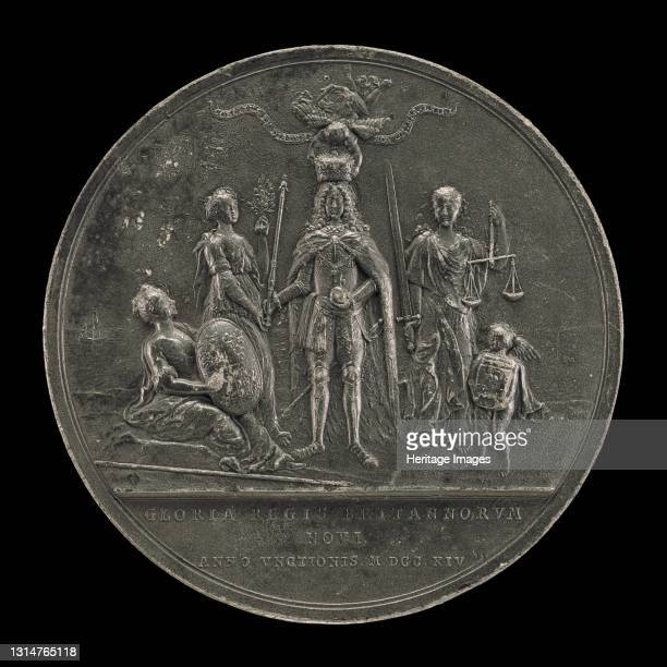 The King Being Crowned between Peace and Justice [reverse], 1714. Artist Nicolaus Seeländer.