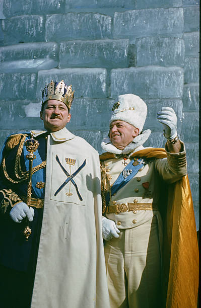 The King Boreas poses after coronation with the Prime Minister during the StPaul Winter Carnival in StPaulMinnesota