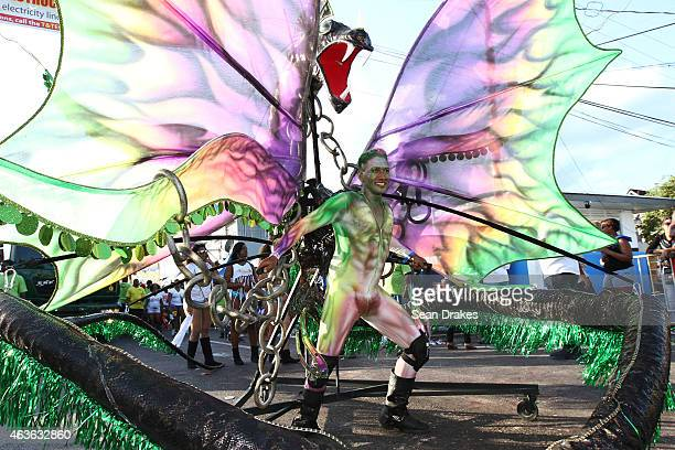 The king character for the band Wild Mas performs during Carnival Monday parade of the bands as part of Trinidad and Tobago Carnival on February 16...