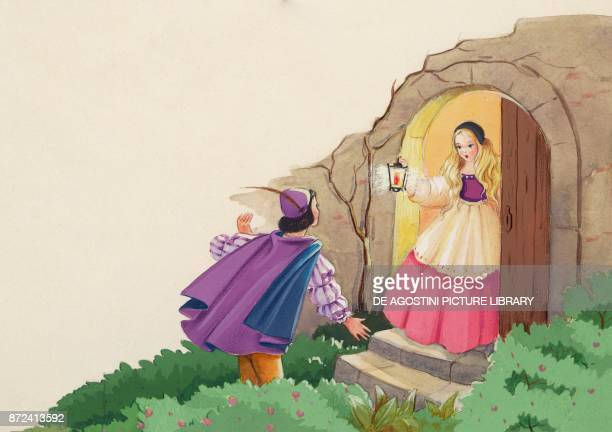 The king comes to the house and sees Sister illustration for Brother and Sister fairy tale by the Grimm brothers Jacob and Wilhelm drawing