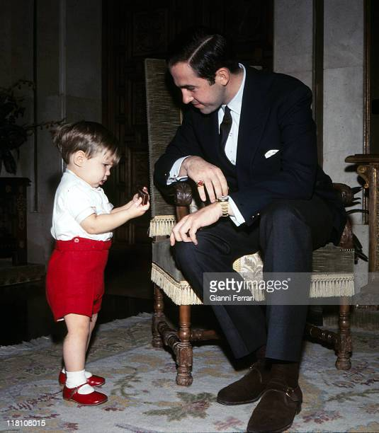 The King Constantine of Greece with her son Pablo in the Zarzuela Palace Madrid Spain