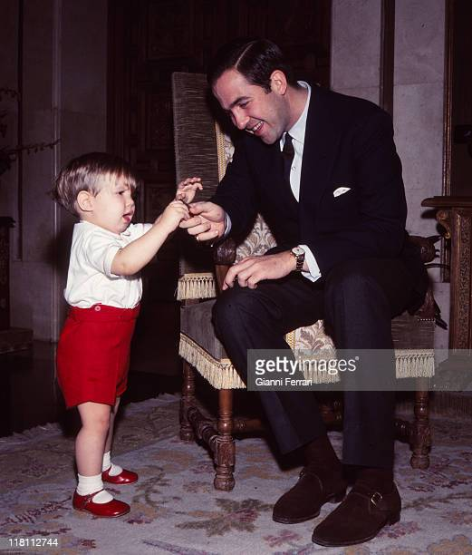 The King Constantine of Greece with her son Pablo in the Zarzuela Palace Madrid, Spain.
