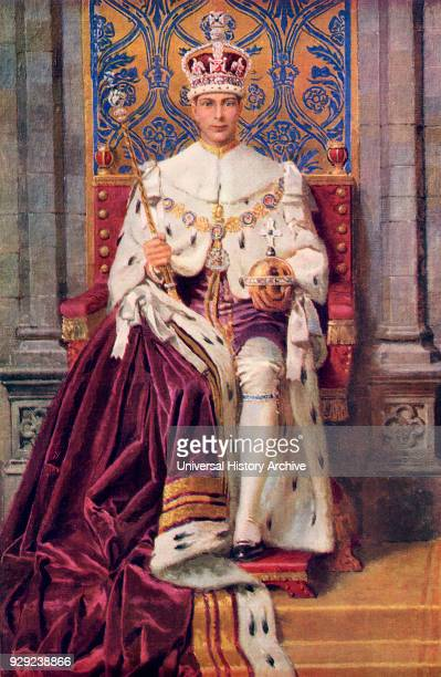 The King Enthroned and Crowned. George VI, Albert Frederick Arthur George, 1895 to 1952. King of the United Kingdom. From The Sphere, Coronation...