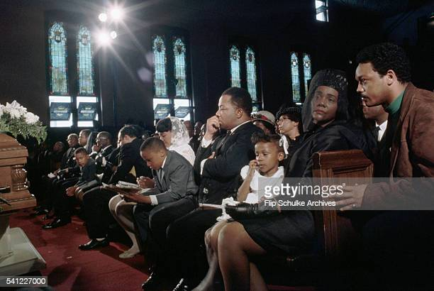 The King family and mourners gather in Ebenezer Baptist Church for the funeral of Martin Luther King Jr