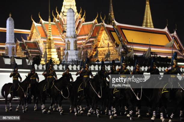 GRANDPALACE BANGKOK THAILAND The king guard cavalry a procession to transfer His Majesty the late King Bhumibol Adulyadejs royal relics and ashes...