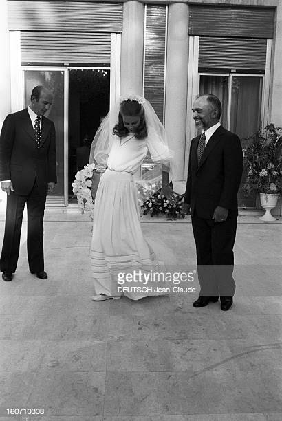 The King Hussein Of Jordan Marries The American Lisa Halaby En Jordanie au Palais de Zaran à Amman le 15 juin 1978 lors de leur mariage le Roi...
