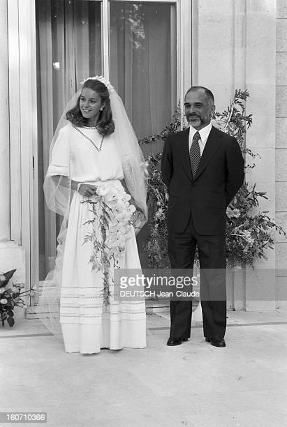 The King Hussein Of Jordan Marries The American Lisa Halaby En Jordanie au Palais de Zaran à Amman le 15 juin 1978 lors de leur mariage le Roi...