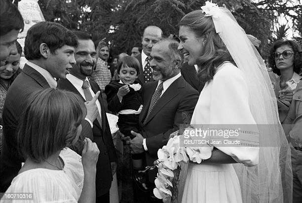 The King Hussein Of Jordan Marries The American Lisa Halaby En Jordanie en extérieur à Amman le 15 juin 1978 lors de leur mariage le Roi HUSSEIN DE...