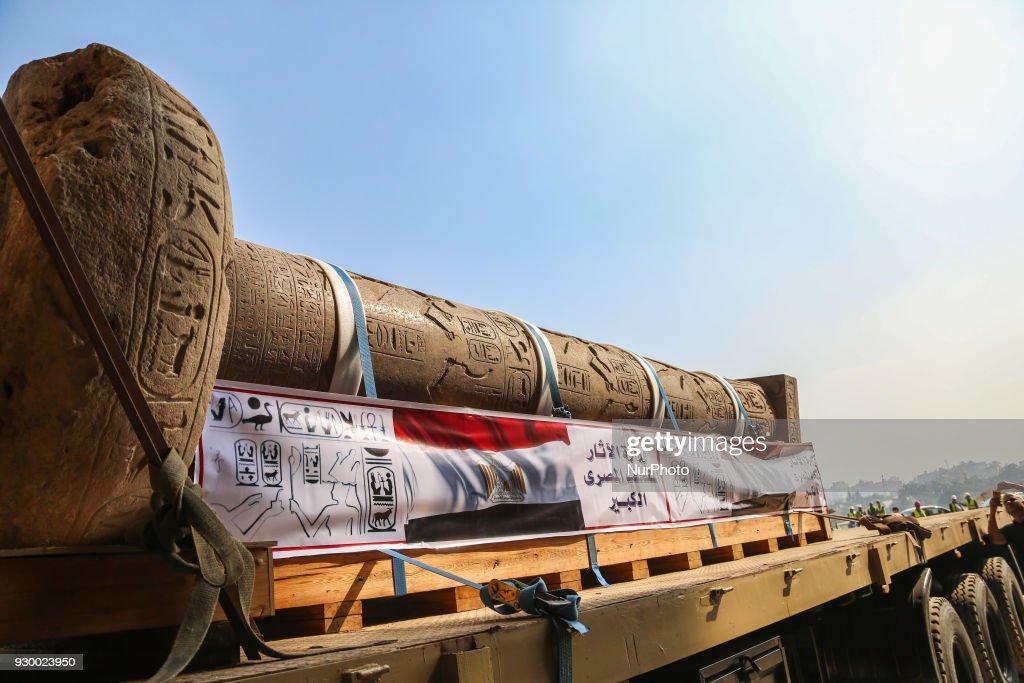 Grand Egyptian Museum receives Meneptah pillar : News Photo