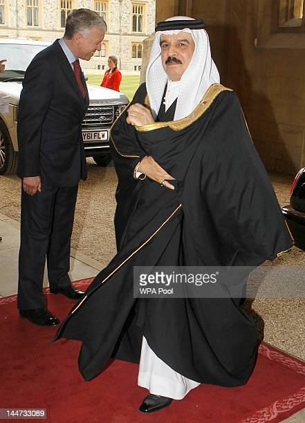 The King of Bahrain Hamad bin Isa Al Khalifa arrives for a lunch for Sovereign Monarchs in honour of Queen Elizabeth II's Diamond Jubilee at Windsor...