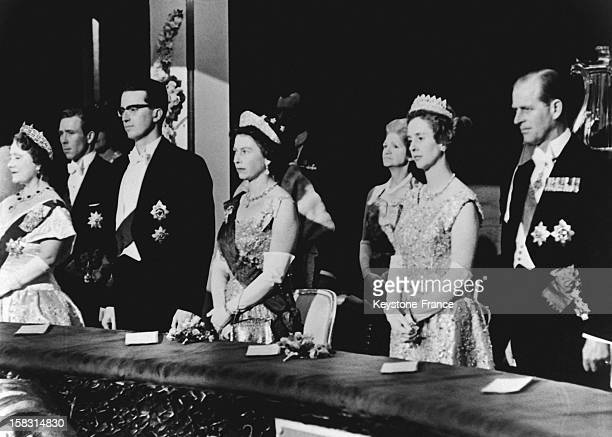 The King of Belgium Baudouin and the Queen Fabiola at Covent Garden Opera with Queen Elizabeth and Prince Philip the Duke of Edinburgh during...