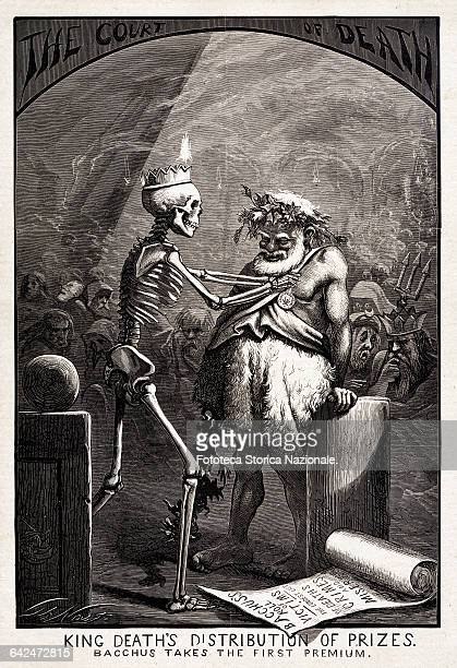 to Bacchus the first prize Print satirical by Thomas Nast against the scourge of alcoholism Thomas Nast caricaturists USA approx 1885