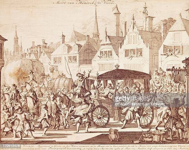 The king of France, Henry IV assassinated by Francois Ravaillac in Paris, July 14, 1610. France, 17th century.