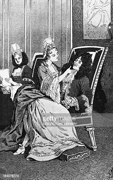 The King of France Louis XIV Marquise de Maintenon and a young Duchess of Burgundy engraving by Louis Bombled from Histoire de France by Jules...