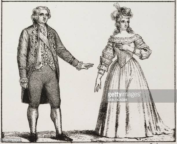 The King of France Louis XVI and Marie Antoinette of Austria, lithograph, from the Universal Gallery of all the peoples of the world, that is to say...
