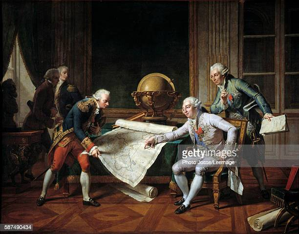 The King of France Louis XVI giving to the navy officer, Jean-Francois de Galaup, Comte de La Perouse his instructions for his exploration around the...