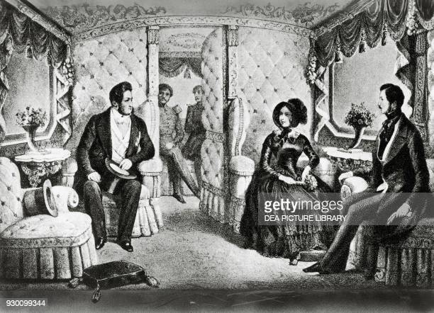 The King of France Louis-Philippe , Queen Victoria , and Prince Albert in the Royal Train during Louis-Philippe's visit to the Queen, England,...