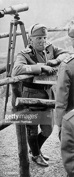 The King of Italy Victor Emmanuel III of Savoy taking part to the the Po Army's large-scale manoeuvres . Piedmont, 2nd August 1939