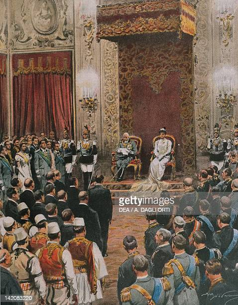 The King of Italy Vittorio Emanuele III of Savoy being crowned King of the Albanians Illustrator Achille Beltrame from La Domenica del Corriere 16th...