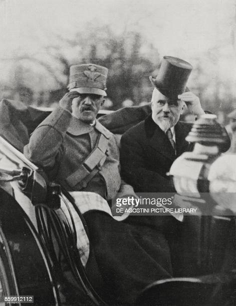 The King of Italy Vittorio Emanuele III on a visit to Paris greeting the crowd with French President Raymond Poincare France from l'Illustrazione...