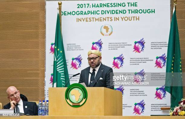 The King of Morocco Mohammed VI delivers a speech in the main plenary of the African Union in Addis Ababa on January 2017 Morocco's King Mohammed VI...