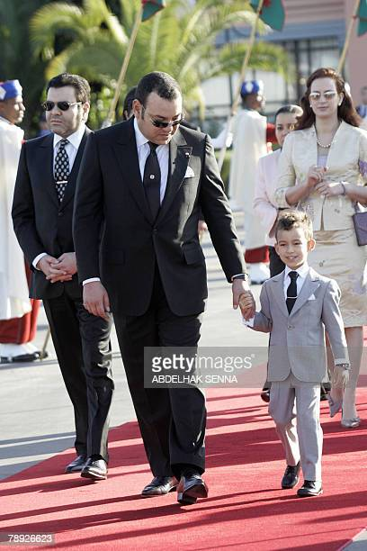 The King of Morocco Mohammed VI his son Prince Hassan III his wife Lalla Salma and his brother Moulay Rachid arrivet to welcome Jordan's king...