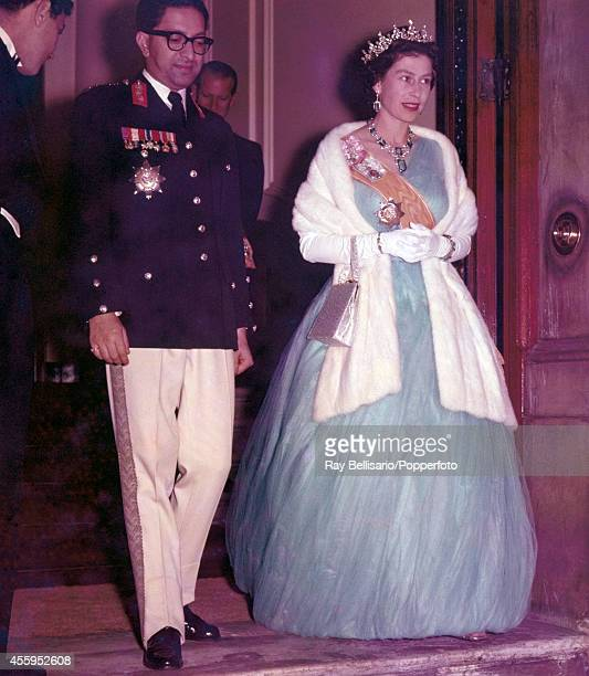The King of Nepal Mahendra Bir Bikram Shah Dev and Queen Elizabeth II at the Nepal Embassy in London during his State Visit on 18th October 1960