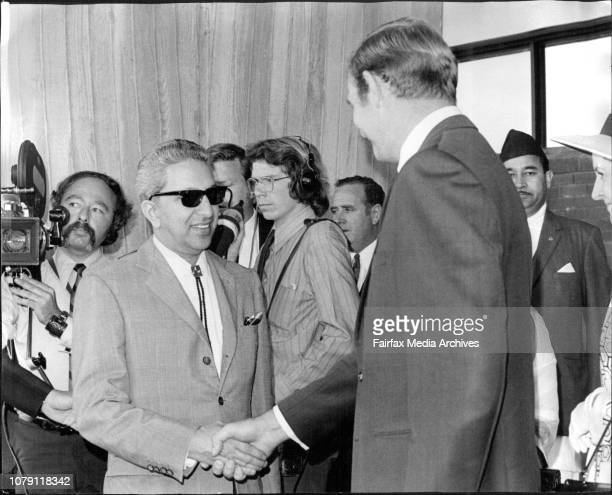 The King of Nepal pictured at Sydney airport today with the Minister for Trade and Industry Mr D Anthony April 23 1971