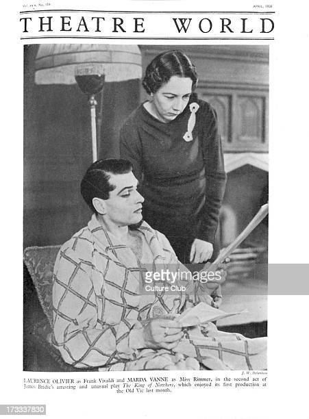 'The King of Nowhere' by James Bridie with Laurence Olivier as Frank Vivaldi and Marda Vanne as Miss Rimmer Act II at the Old Vic Theatre London...