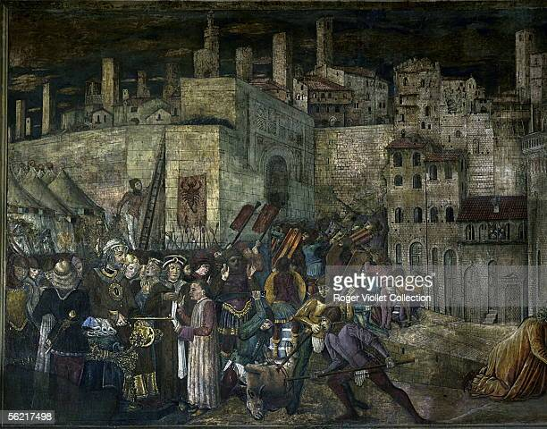The king of Ostrogoths Totila besieging th city of Perouse by Benedetto Bonfigli Perouse palazzo del Popolo